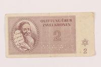 1999.121.8 front Theresienstadt ghetto-labor camp scrip, 2 kronen note  Click to enlarge