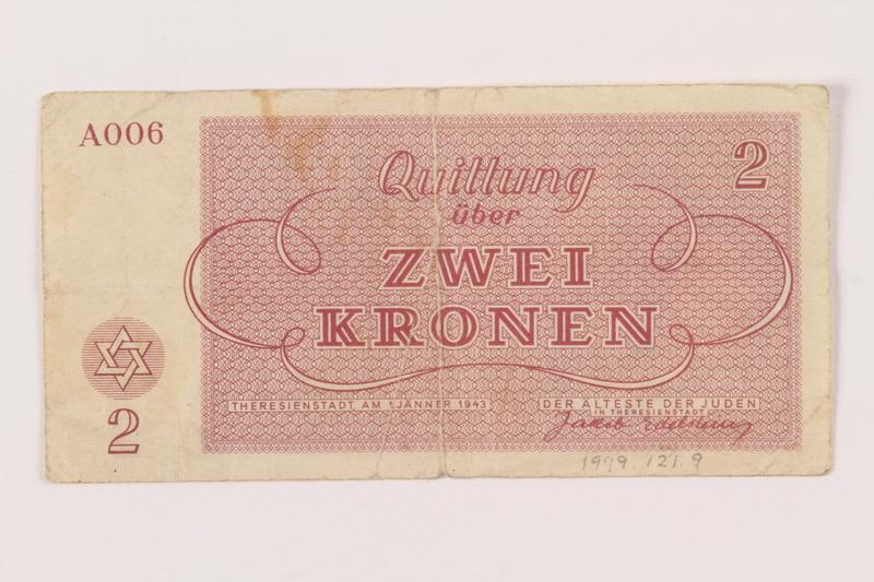 1999.121.9 back Theresienstadt ghetto-labor camp scrip, 2 kronen note