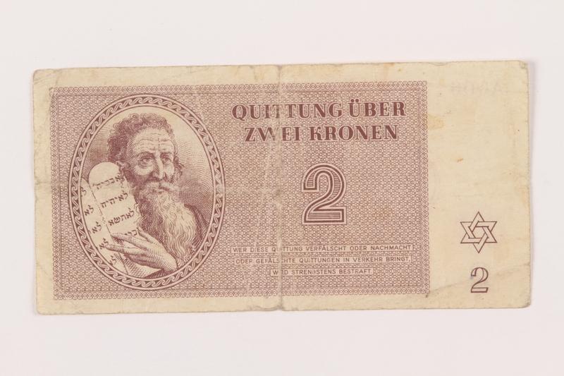1999.121.9 front Theresienstadt ghetto-labor camp scrip, 2 kronen note