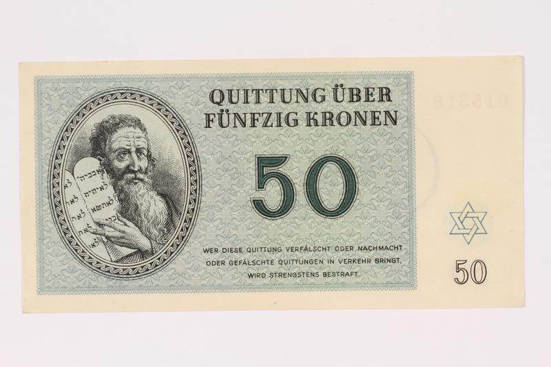 1990.19.1 front Theresienstadt ghetto-labor camp scrip, 50 kronen note