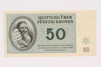 1990.19.1 front Theresienstadt ghetto-labor camp scrip, 50 kronen note  Click to enlarge