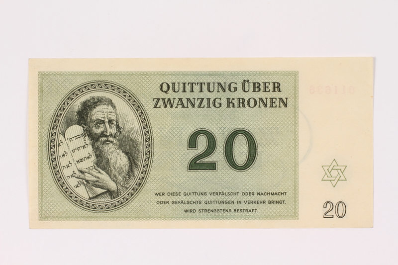 1990.19.2 front Theresienstadt ghetto-labor camp scrip, 20 kronen note