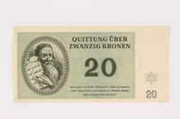 1990.19.2 front Theresienstadt ghetto-labor camp scrip, 20 kronen note  Click to enlarge