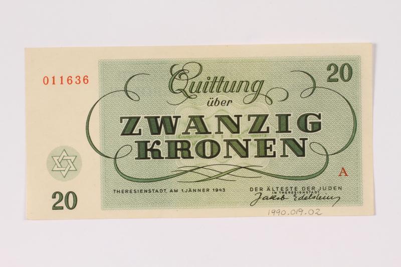 1990.19.2 back Theresienstadt ghetto-labor camp scrip, 20 kronen note