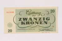 1990.19.2 back Theresienstadt ghetto-labor camp scrip, 20 kronen note  Click to enlarge