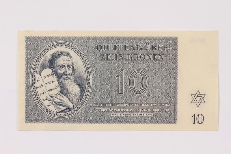 1990.19.3 front Theresienstadt ghetto-labor camp scrip, 10 kronen note