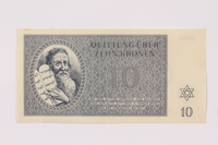 1990.19.3 front Theresienstadt ghetto-labor camp scrip, 10 kronen note  Click to enlarge