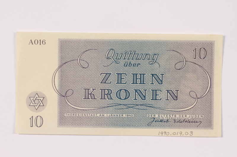 1990.19.3 back Theresienstadt ghetto-labor camp scrip, 10 kronen note