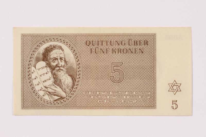 1990.19.4 front Theresienstadt ghetto-labor camp scrip, 5 kronen note