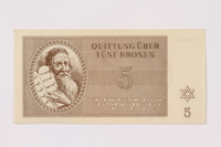 1990.19.4 front Theresienstadt ghetto-labor camp scrip, 5 kronen note  Click to enlarge
