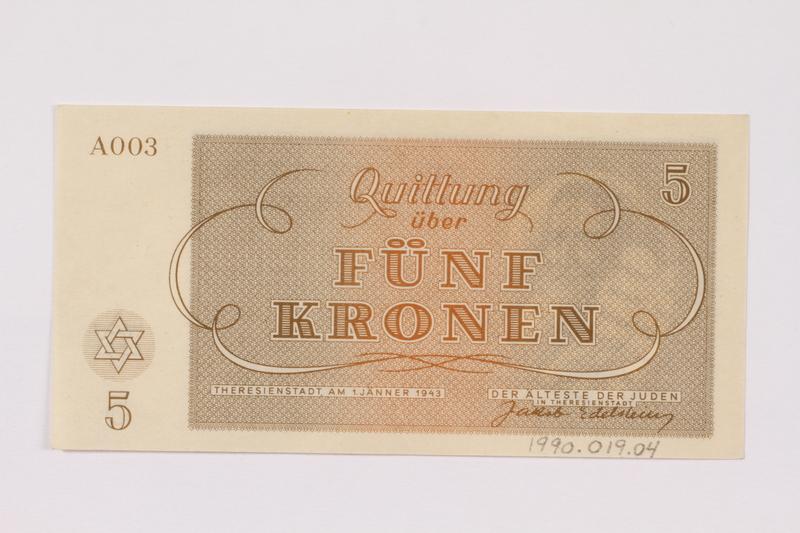 1990.19.4 back Theresienstadt ghetto-labor camp scrip, 5 kronen note
