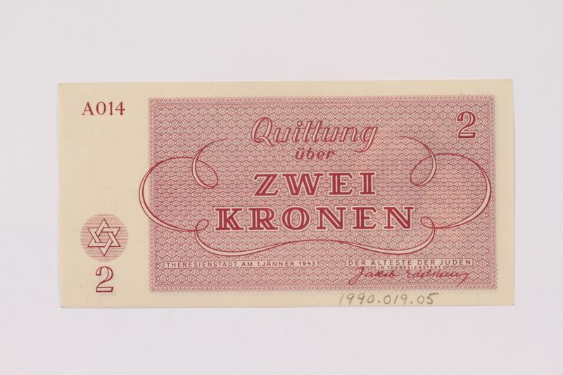 1990.19.5 back Theresienstadt ghetto-labor camp scrip, 2 kronen note