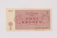 1990.19.5 back Theresienstadt ghetto-labor camp scrip, 2 kronen note  Click to enlarge