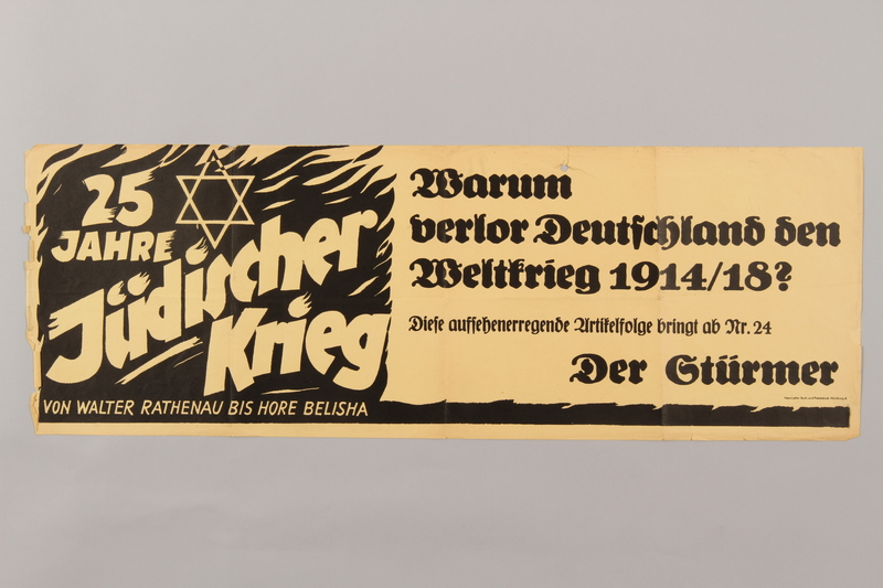 1990.193.5 front Broadside for a Der Sturmer article blaming Jews for losing WWI