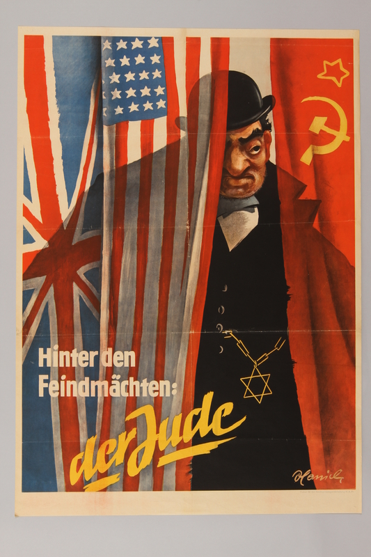1990.193.9 front Antisemitic poster of a Jewish businessman plotting against Germany
