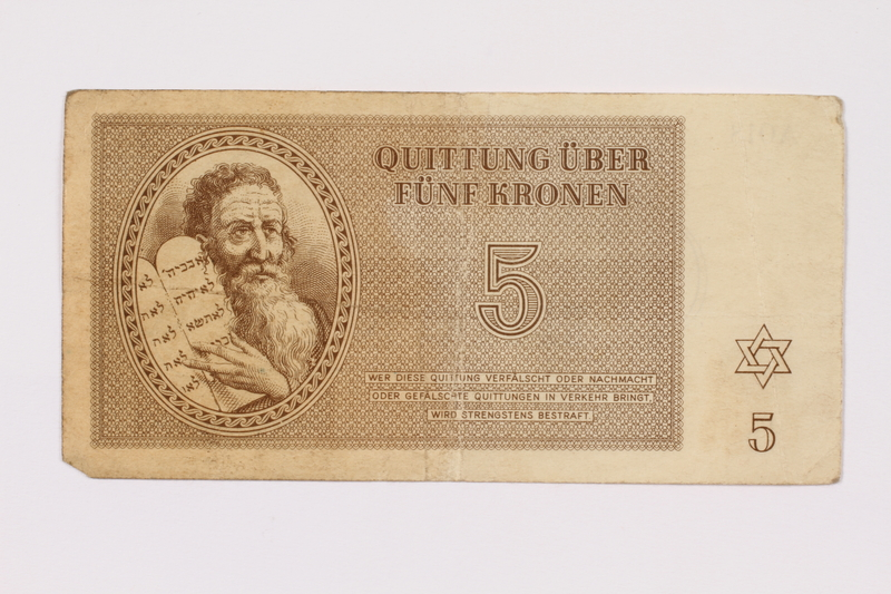 1990.209.1 Theresienstadt ghetto-labor camp scrip, 5 kronen note