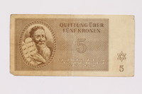 1990.209.1 Theresienstadt ghetto-labor camp scrip, 5 kronen note  Click to enlarge