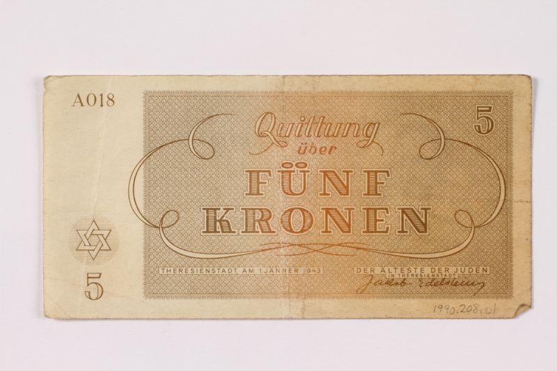 1990.209.1 back Theresienstadt ghetto-labor camp scrip, 5 kronen note