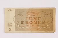 1990.209.1 back Theresienstadt ghetto-labor camp scrip, 5 kronen note  Click to enlarge
