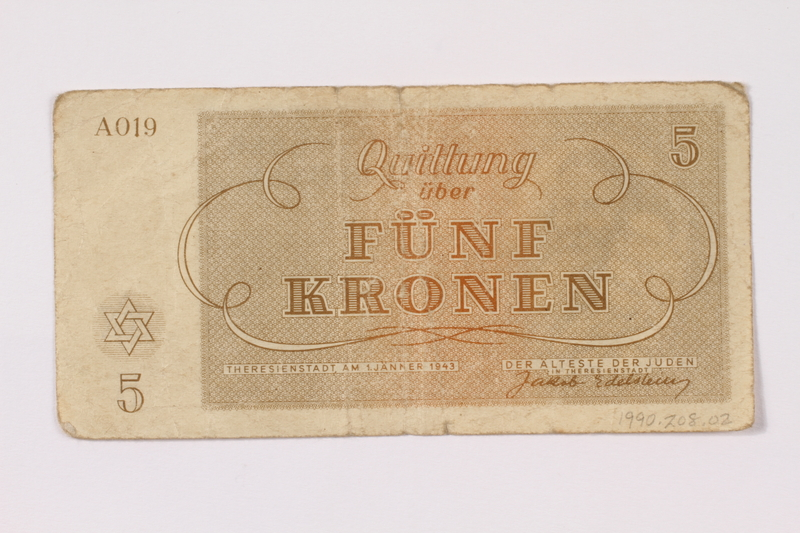 1990.209.2 back Theresienstadt ghetto-labor camp scrip, 5 kronen note