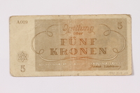 1990.209.2 back Theresienstadt ghetto-labor camp scrip, 5 kronen note  Click to enlarge