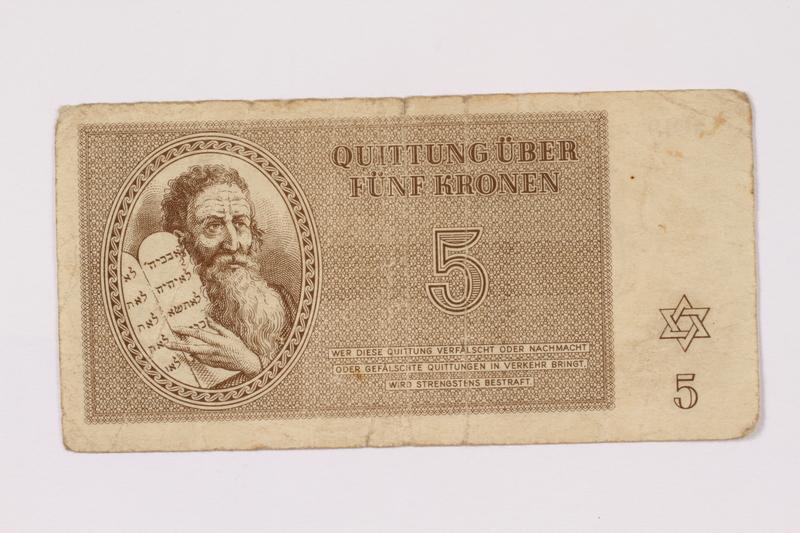 1990.209.2 front Theresienstadt ghetto-labor camp scrip, 5 kronen note