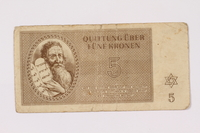 1990.209.2 front Theresienstadt ghetto-labor camp scrip, 5 kronen note  Click to enlarge