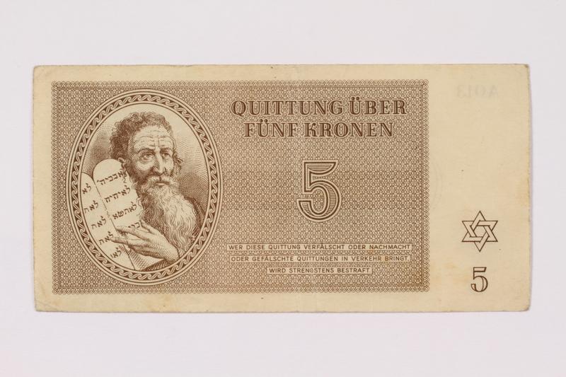 1990.209.3 front Theresienstadt ghetto-labor camp scrip, 5 kronen note