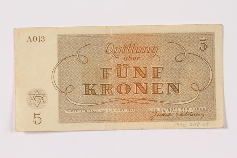 1990.209.3 back Theresienstadt ghetto-labor camp scrip, 5 kronen note