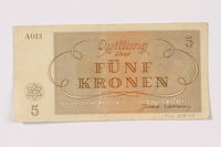 1990.209.3 back Theresienstadt ghetto-labor camp scrip, 5 kronen note  Click to enlarge