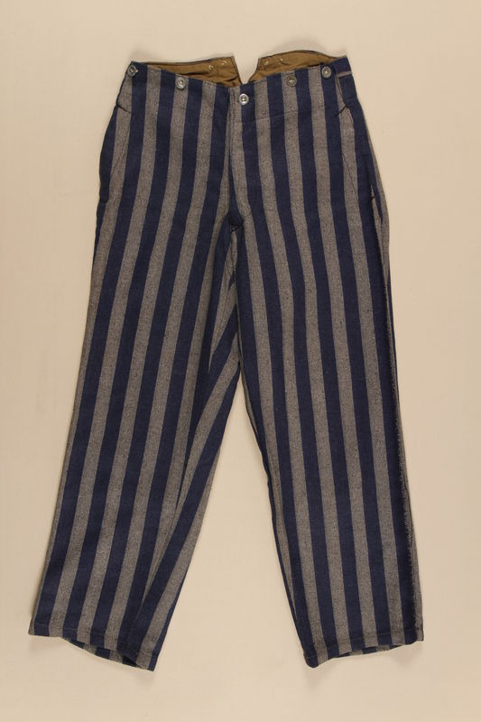 1990.222.1.2 front Concentration camp uniform trousers worn by a Jehovah's Witness inmate