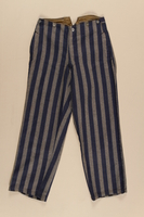 1990.222.1.2 front Concentration camp uniform trousers worn by a Jehovah's Witness inmate  Click to enlarge