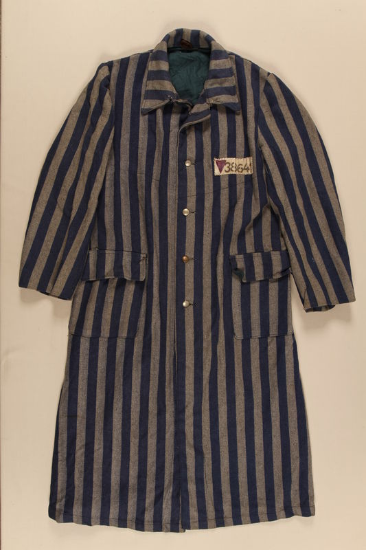 1990.222.1.3 front Concentration camp uniform coat with a purple triangle worn by a Jehovah's Witness inmate