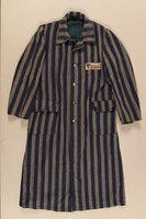 1990.222.1.3 front Concentration camp uniform coat with a purple triangle worn by a Jehovah's Witness inmate  Click to enlarge