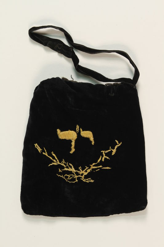 1990.223.1.2_a back Tefillin pair and embroidered pouch brought with a German Jewish refugee