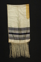 White silk tallit with black stripes brought with a German Jewish refugee