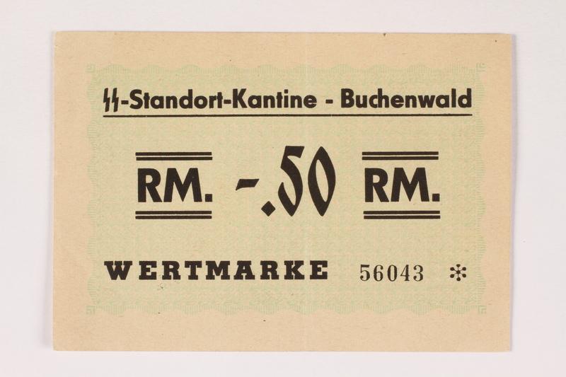 2000.267.10 front Buchenwald Standort-Kantine concentration camp scrip, .50 Reichsmark