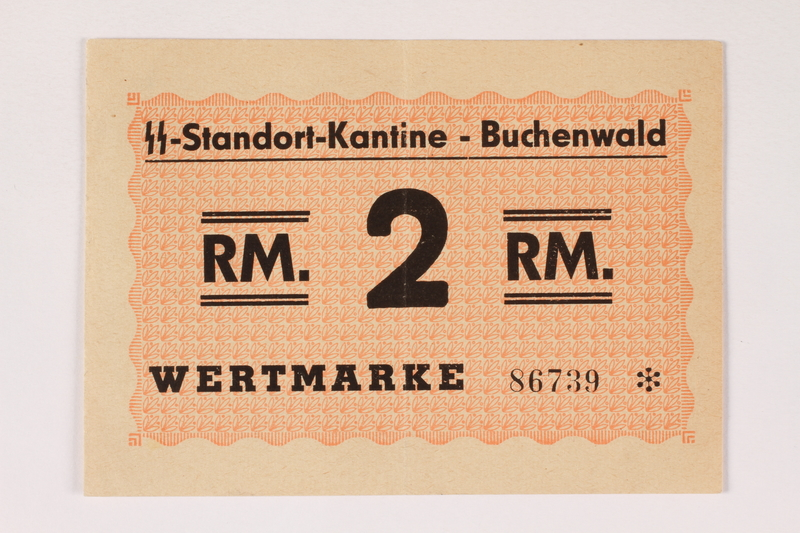 2000.267.11 front Buchenwald Standort-Kantine concentration camp scrip, 2 Reichsmark