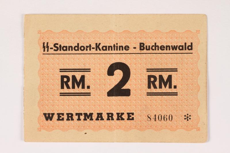 2000.267.12 front Buchenwald Standort-Kantine concentration camp scrip, 2 Reichsmark