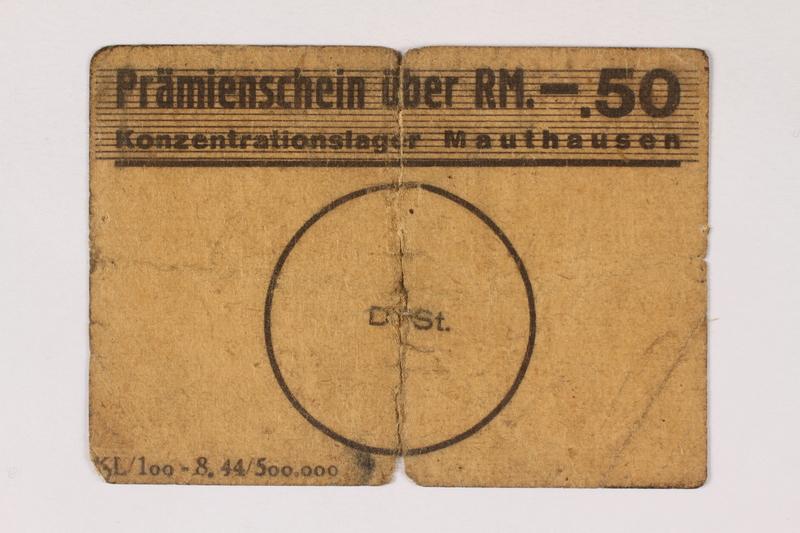2000.287.1 front Mauthausen labor camp scrip, 50 pfennig reichmark note