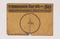 2000.287.1 front Mauthausen labor camp scrip, 50 pfennig reichmark note  Click to enlarge