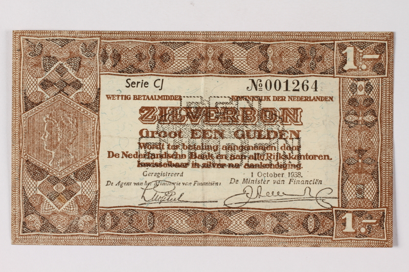 1990.23.192 front Netherlands, 1 gulden silver voucher, kept by a Dutch Jewish woman in hiding