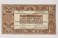 1990.23.192 front Netherlands, 1 gulden silver voucher, kept by a Dutch Jewish woman in hiding  Click to enlarge