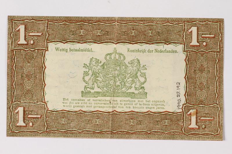 1990.23.192 back Netherlands, 1 gulden silver voucher, kept by a Dutch Jewish woman in hiding