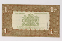 1990.23.192 back Netherlands, 1 gulden silver voucher, kept by a Dutch Jewish woman in hiding  Click to enlarge