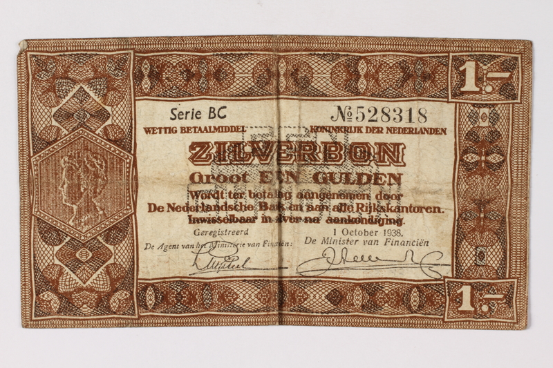 1990.23.193 front Netherlands, 1 gulden silver voucher, kept by a Dutch Jewish woman in hiding