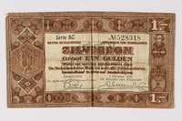 1990.23.193 front Netherlands, 1 gulden silver voucher, kept by a Dutch Jewish woman in hiding  Click to enlarge