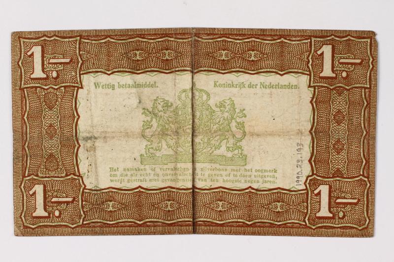 1990.23.193 back Netherlands, 1 gulden silver voucher, kept by a Dutch Jewish woman in hiding