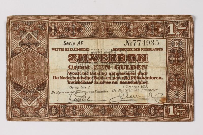 1990.23.194 front Netherlands, 1 gulden silver voucher, kept by a Dutch Jewish woman in hiding