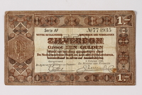 1990.23.194 front Netherlands, 1 gulden silver voucher, kept by a Dutch Jewish woman in hiding  Click to enlarge